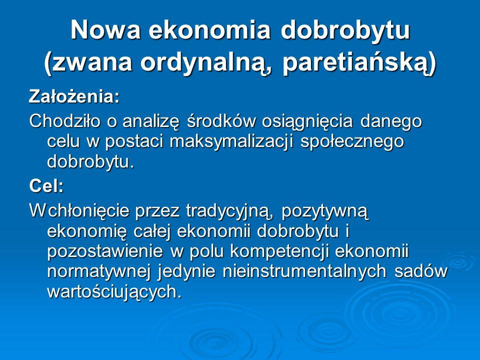 Nowa ekonomia dobrobytu (zwana ordynalną, paretiańską)