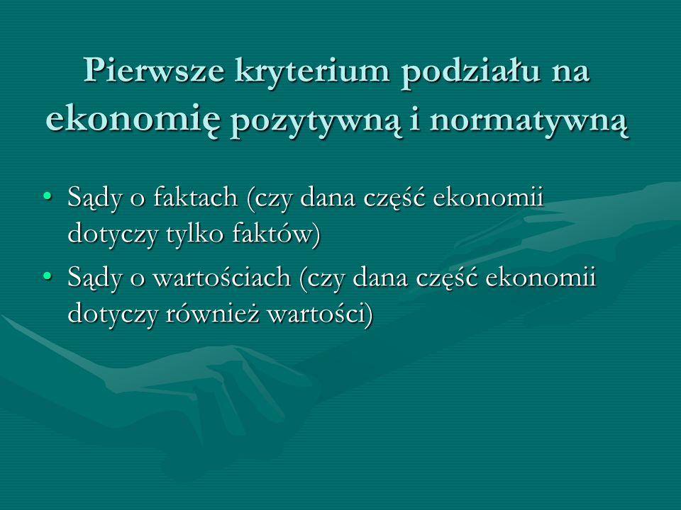 Pierwsze kryterium podziału na ekonomię pozytywną i normatywną