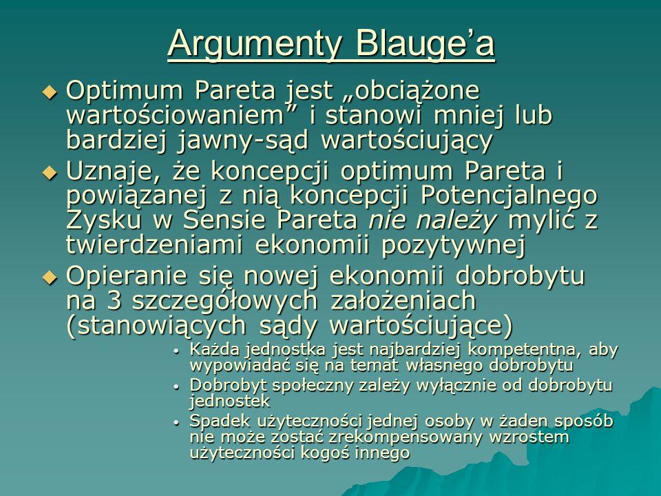 """Argumenty Blauge'a Optimum Pareta jest """"obciążone wartościowaniem i stanowi mniej lub bardziej jawny-sąd wartościujący."""