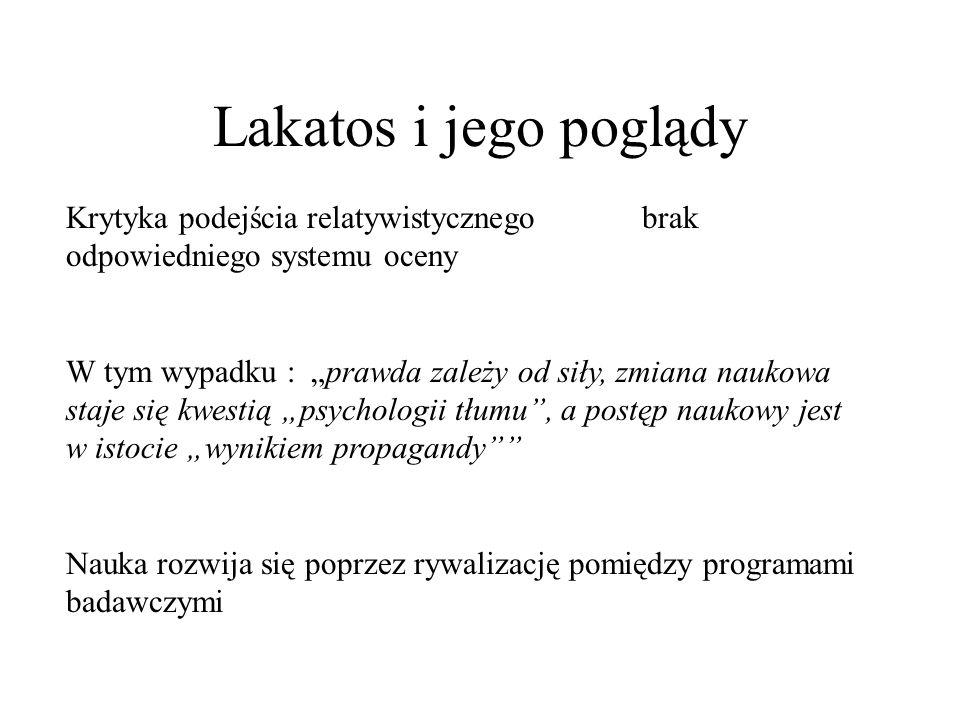 Lakatos i jego poglądy Krytyka podejścia relatywistycznego brak odpowiedniego systemu oceny.