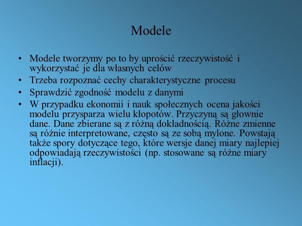 Modele Modele tworzymy po to by uprościć rzeczywistość i wykorzystać je dla własnych celów. Trzeba rozpoznać cechy charakterystyczne procesu.