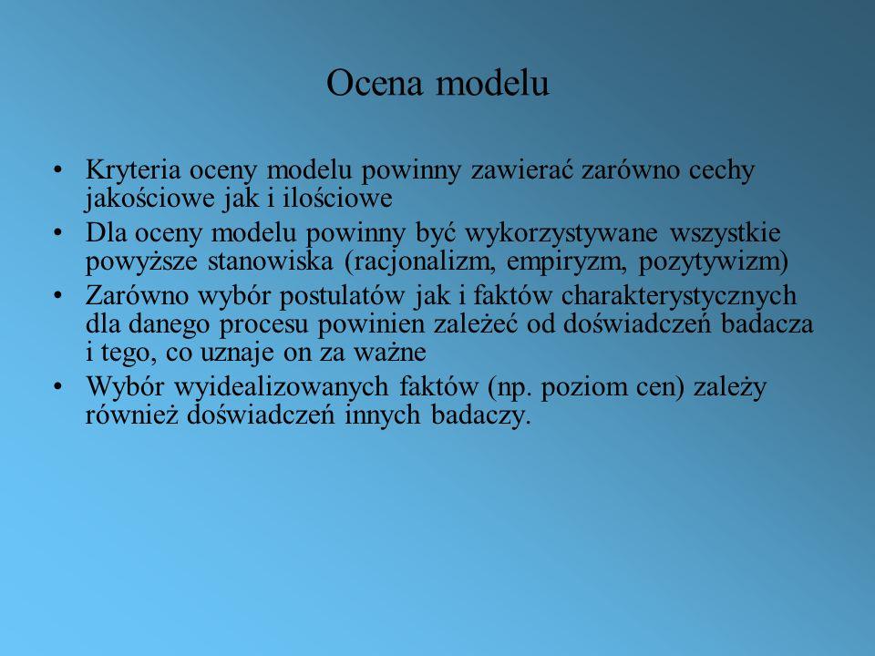 Ocena modelu Kryteria oceny modelu powinny zawierać zarówno cechy jakościowe jak i ilościowe.