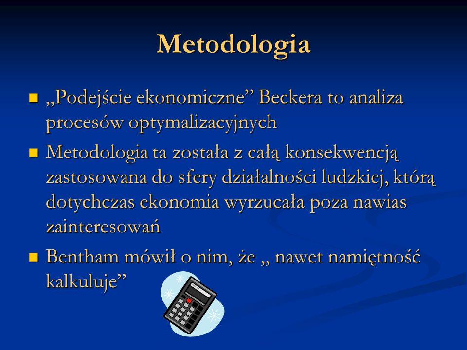 """Metodologia """"Podejście ekonomiczne Beckera to analiza procesów optymalizacyjnych."""