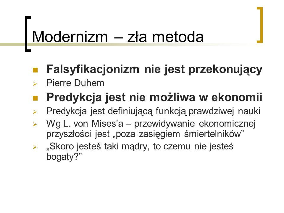 Modernizm – zła metoda Falsyfikacjonizm nie jest przekonujący