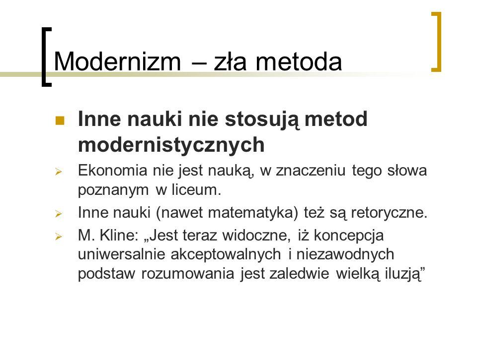 Modernizm – zła metoda Inne nauki nie stosują metod modernistycznych