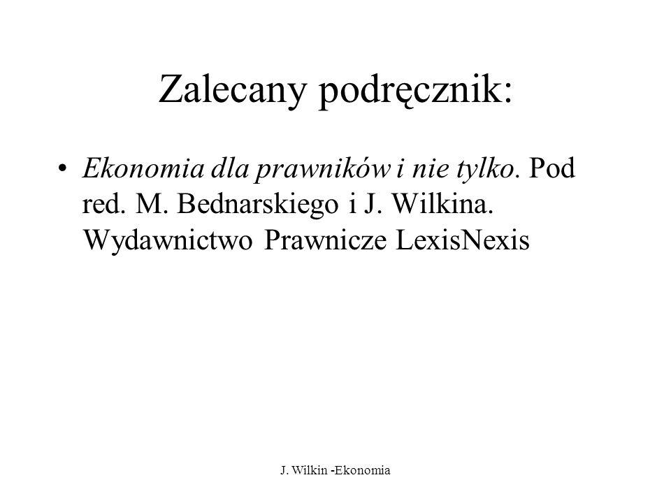 Zalecany podręcznik: Ekonomia dla prawników i nie tylko. Pod red. M. Bednarskiego i J. Wilkina. Wydawnictwo Prawnicze LexisNexis.