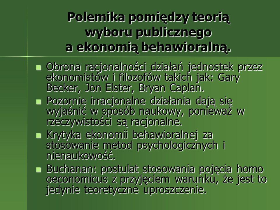 Polemika pomiędzy teorią wyboru publicznego a ekonomią behawioralną.