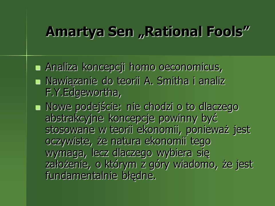 "Amartya Sen ""Rational Fools"