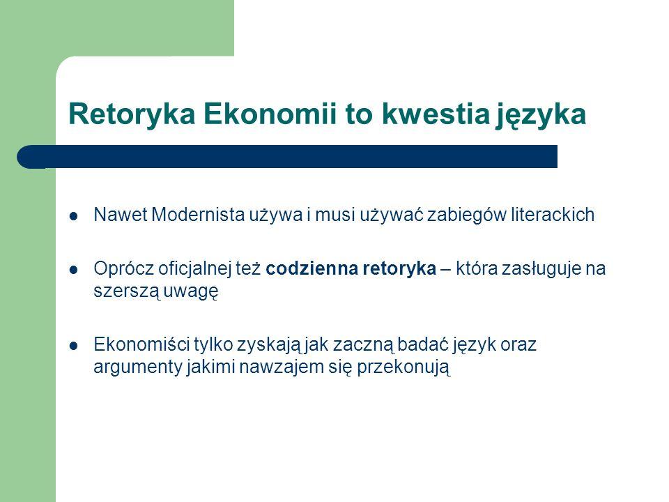 Retoryka Ekonomii to kwestia języka