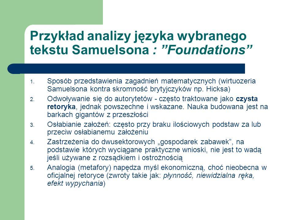Przykład analizy języka wybranego tekstu Samuelsona : Foundations