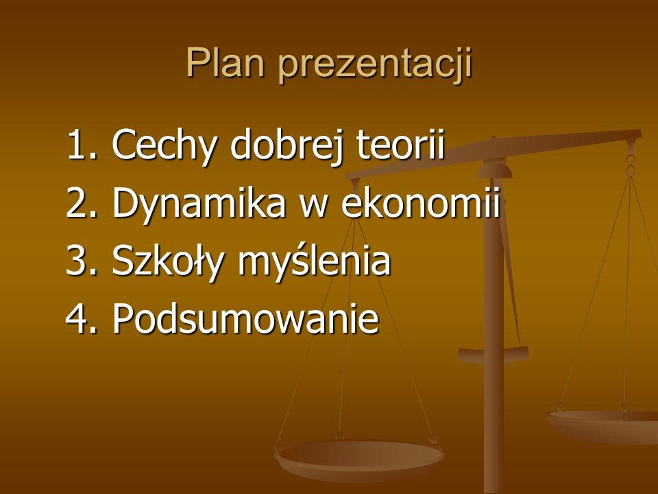 Plan prezentacji 1. Cechy dobrej teorii 2. Dynamika w ekonomii 3. Szkoły myślenia 4. Podsumowanie