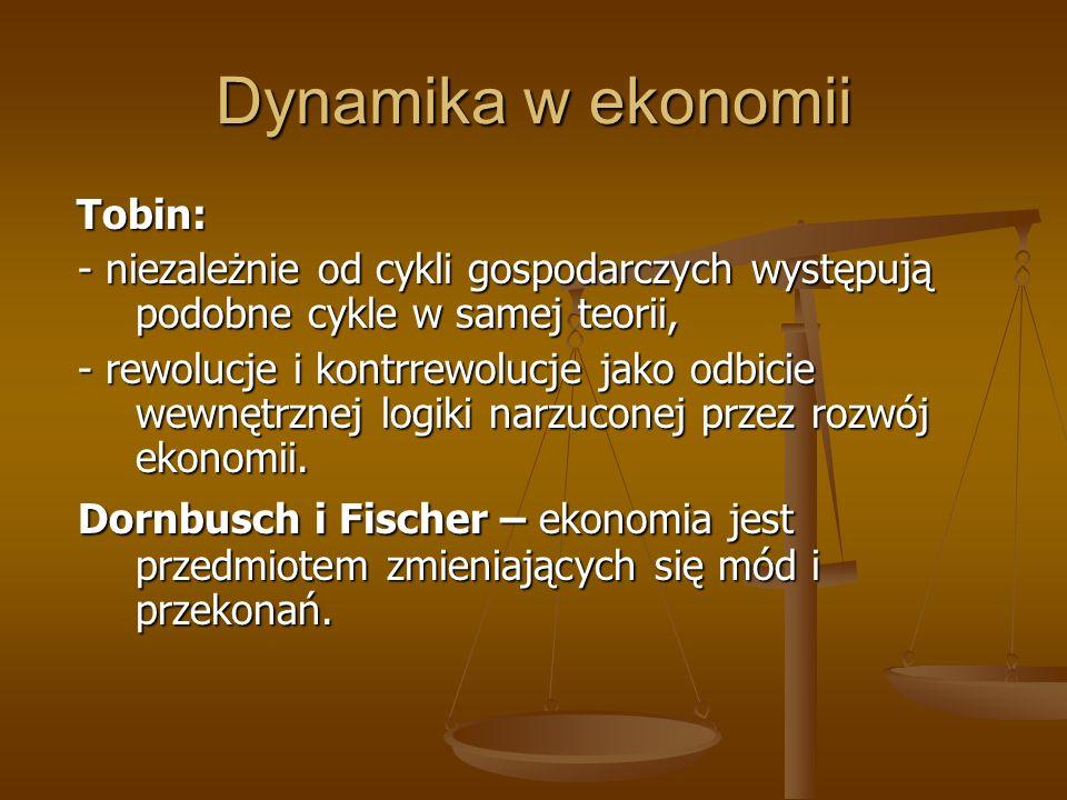 Dynamika w ekonomii Tobin: - niezależnie od cykli gospodarczych występują podobne cykle w samej teorii,
