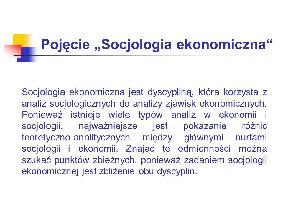 """Pojęcie """"Socjologia ekonomiczna"""