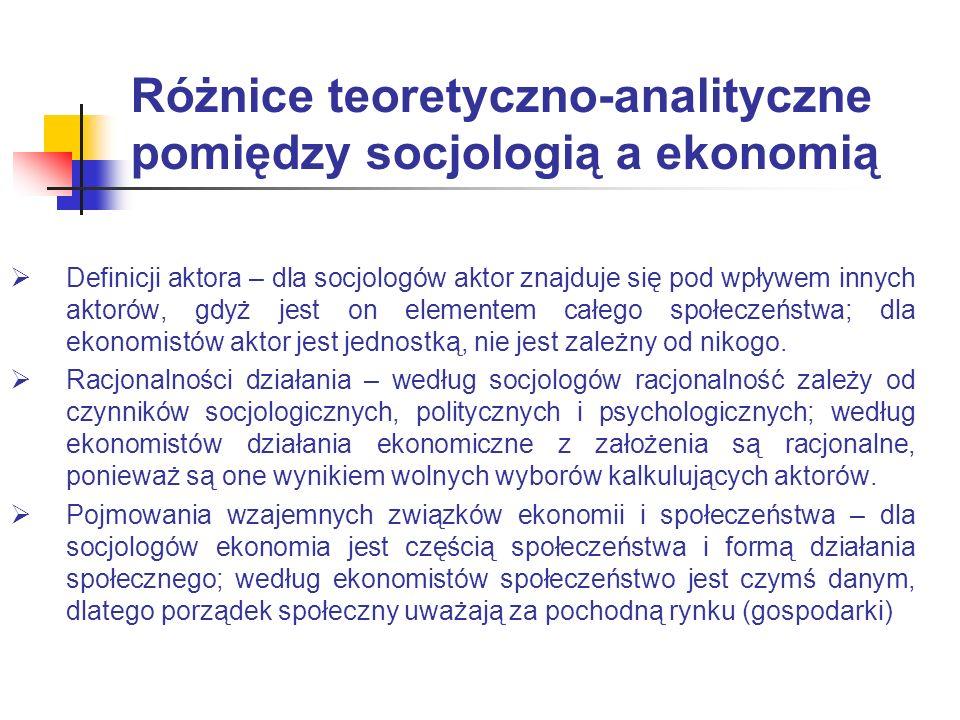 Różnice teoretyczno-analityczne pomiędzy socjologią a ekonomią