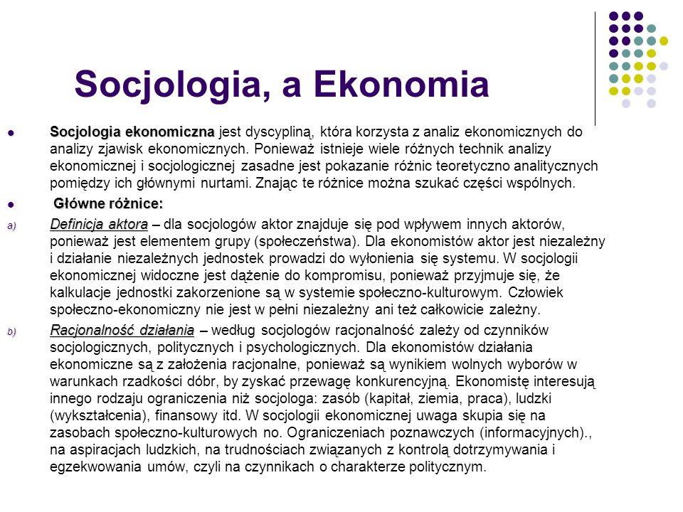 Socjologia, a Ekonomia