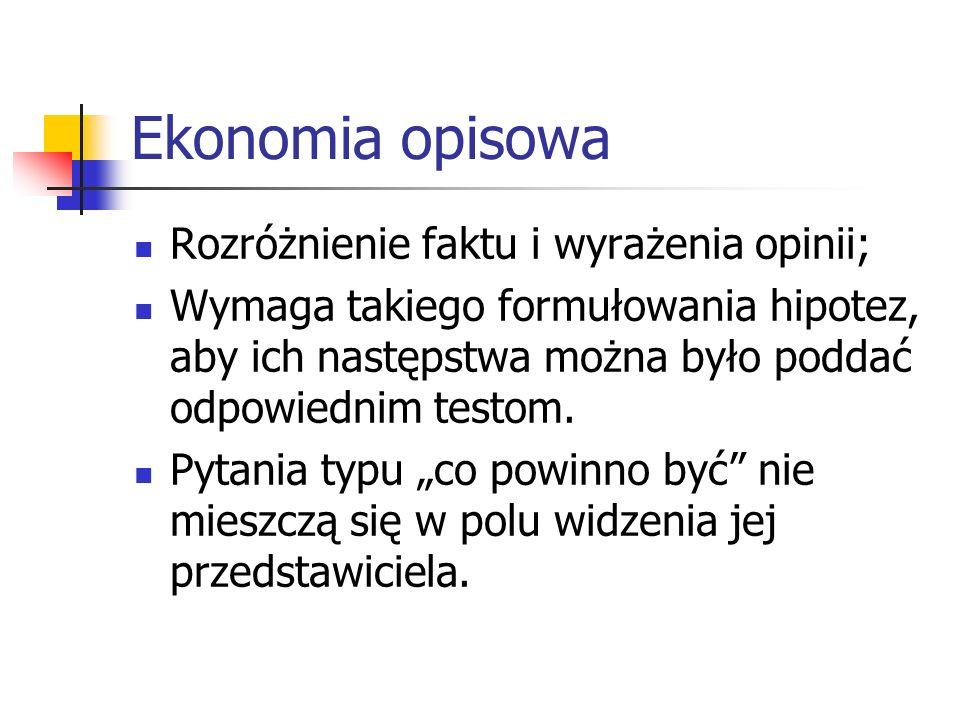 Ekonomia opisowa Rozróżnienie faktu i wyrażenia opinii;