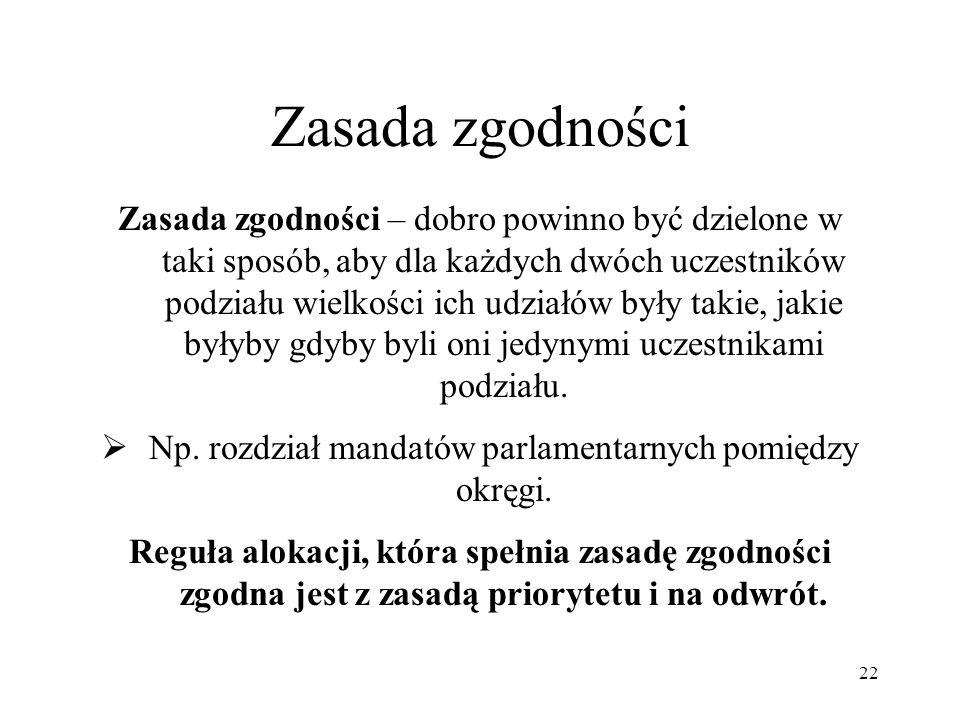Np. rozdział mandatów parlamentarnych pomiędzy okręgi.