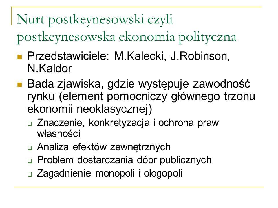 Nurt postkeynesowski czyli postkeynesowska ekonomia polityczna