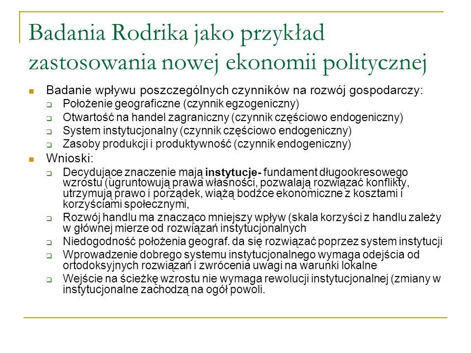Badania Rodrika jako przykład zastosowania nowej ekonomii politycznej