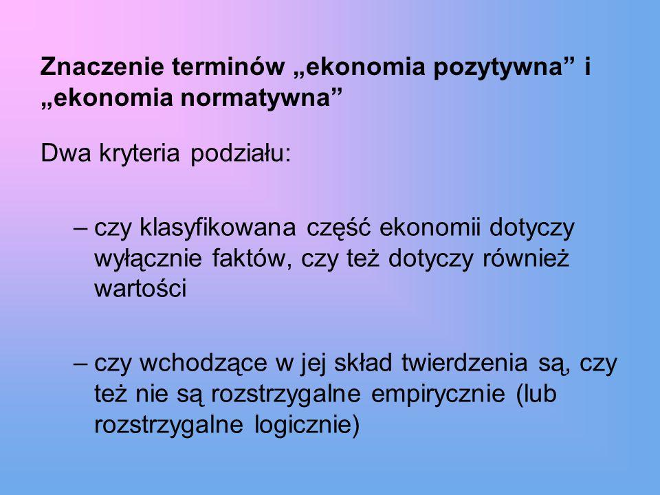 """Znaczenie terminów """"ekonomia pozytywna i """"ekonomia normatywna"""
