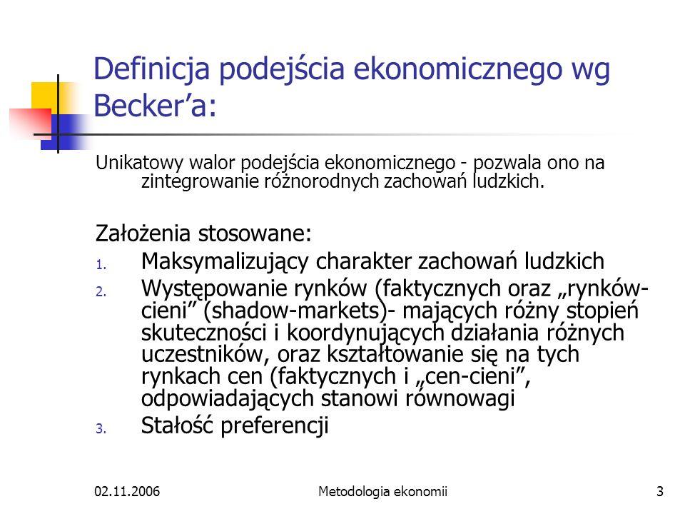 Definicja podejścia ekonomicznego wg Becker'a: