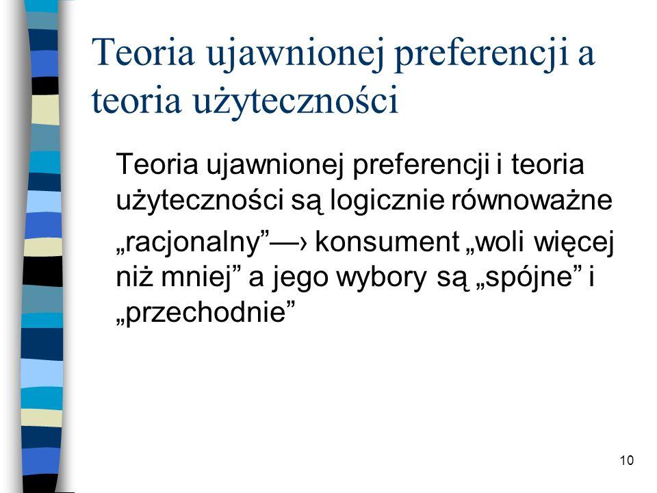 Teoria ujawnionej preferencji a teoria użyteczności