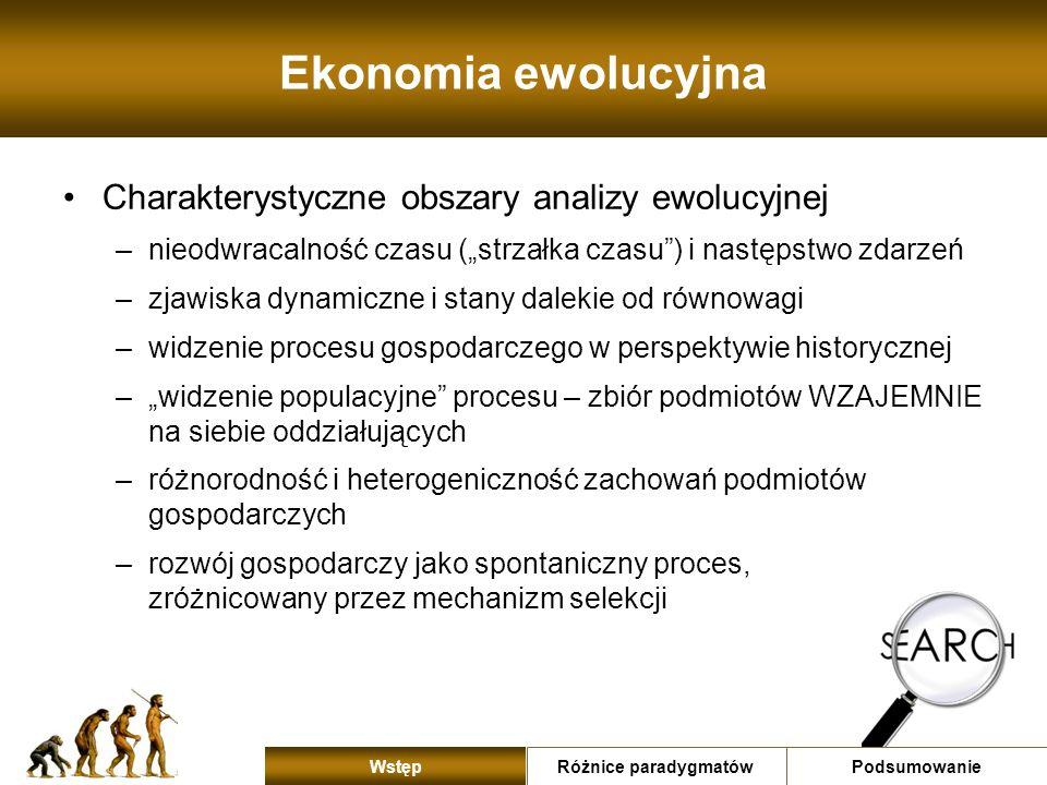 Ekonomia ewolucyjna Charakterystyczne obszary analizy ewolucyjnej