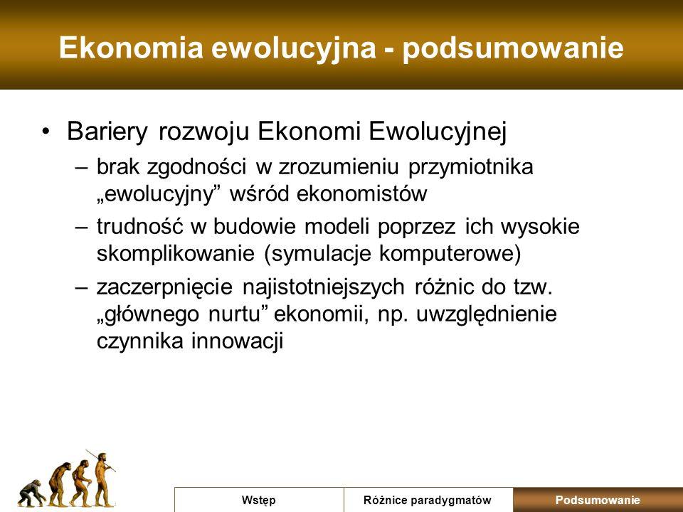 Ekonomia ewolucyjna - podsumowanie