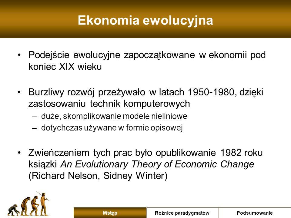 Ekonomia ewolucyjna Podejście ewolucyjne zapoczątkowane w ekonomii pod koniec XIX wieku.