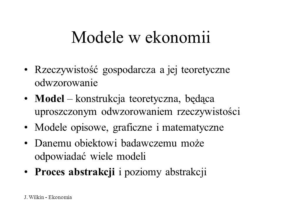 Modele w ekonomii Rzeczywistość gospodarcza a jej teoretyczne odwzorowanie.