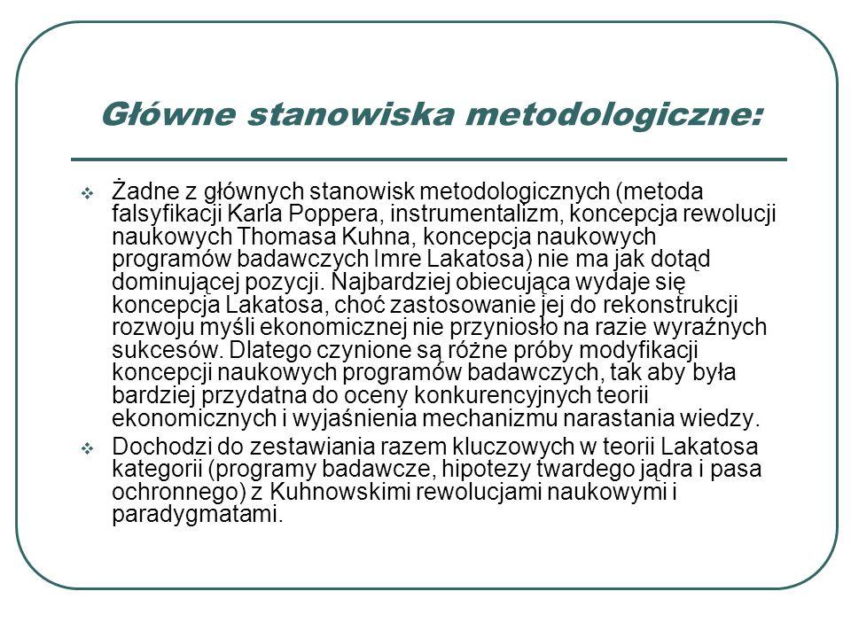 Główne stanowiska metodologiczne: