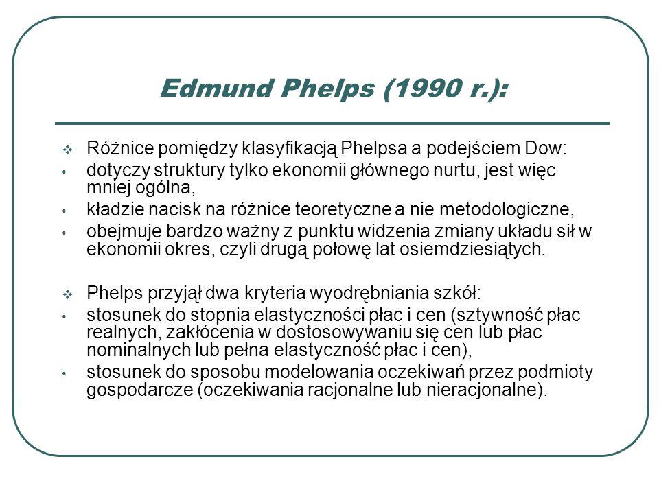 Edmund Phelps (1990 r.):Różnice pomiędzy klasyfikacją Phelpsa a podejściem Dow: