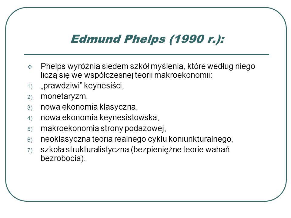 Edmund Phelps (1990 r.): Phelps wyróżnia siedem szkół myślenia, które według niego liczą się we współczesnej teorii makroekonomii: