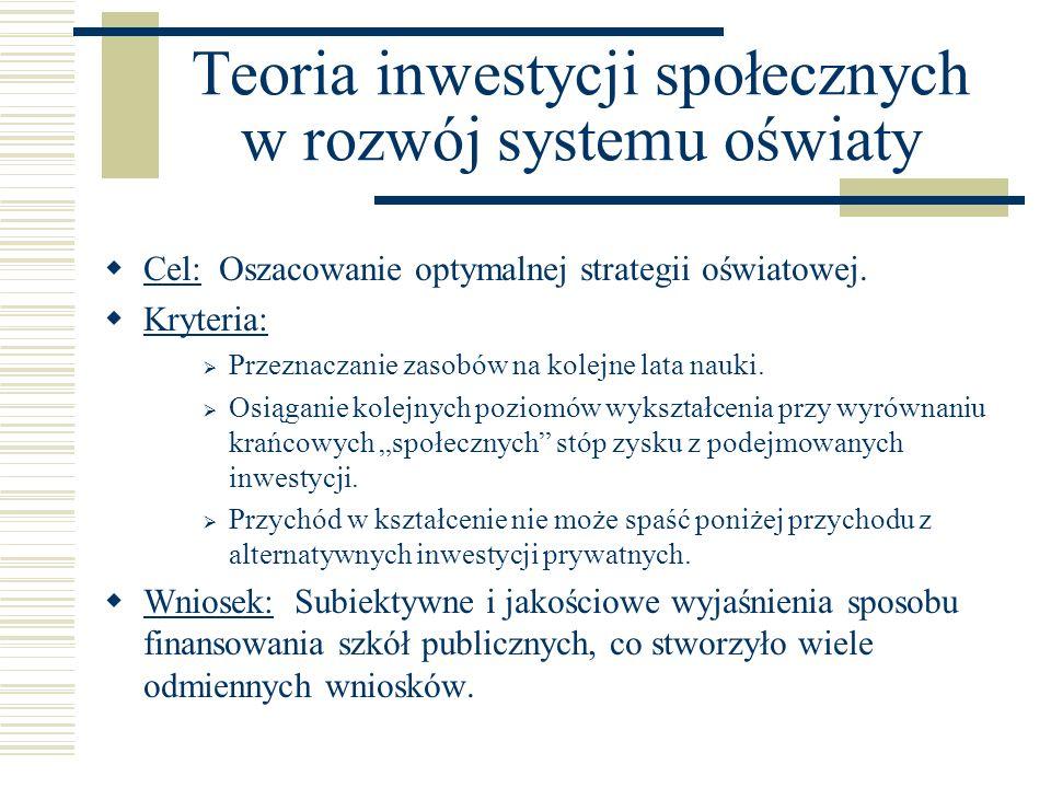 Teoria inwestycji społecznych w rozwój systemu oświaty