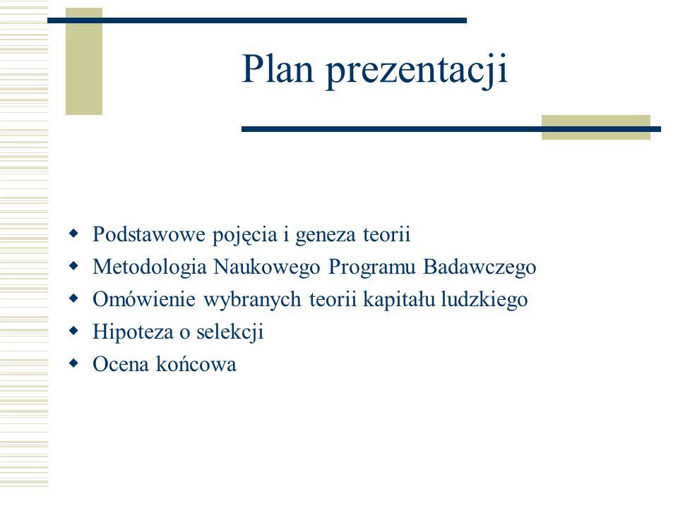 Plan prezentacji Podstawowe pojęcia i geneza teorii