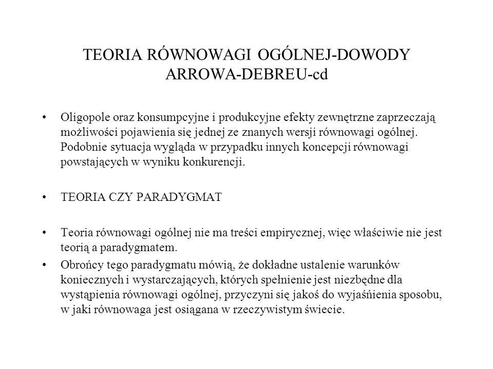 TEORIA RÓWNOWAGI OGÓLNEJ-DOWODY ARROWA-DEBREU-cd