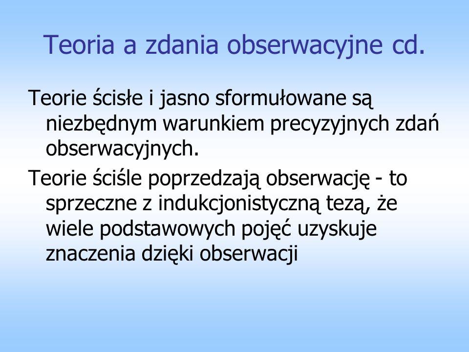 Teoria a zdania obserwacyjne cd.