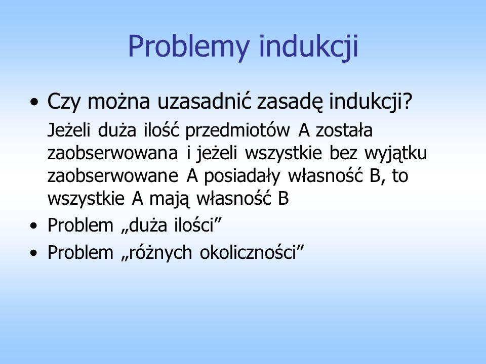 Problemy indukcji Czy można uzasadnić zasadę indukcji