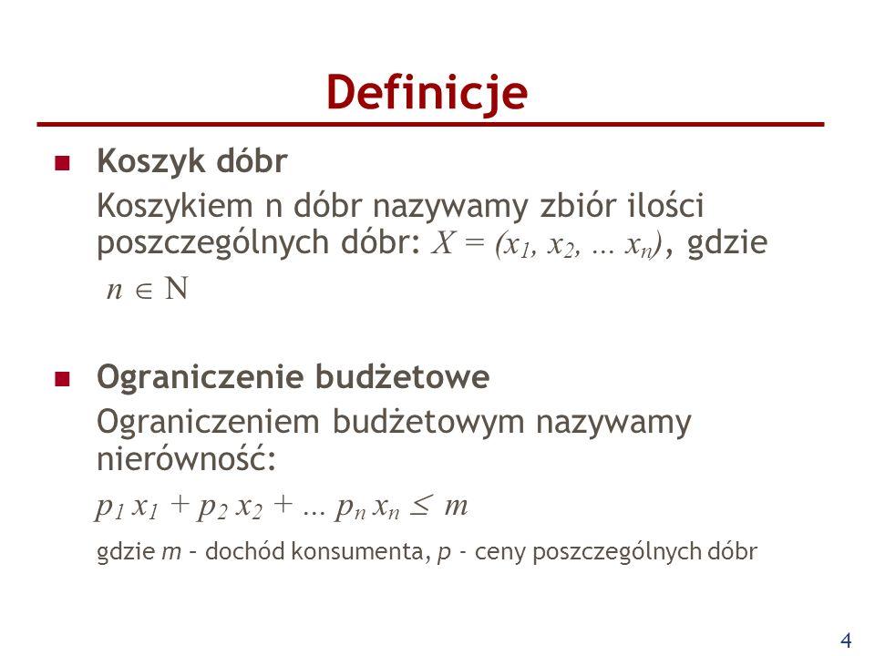 Definicje Koszyk dóbr. Koszykiem n dóbr nazywamy zbiór ilości poszczególnych dóbr: X = (x1, x2, ... xn), gdzie.