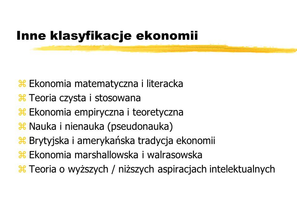Inne klasyfikacje ekonomii