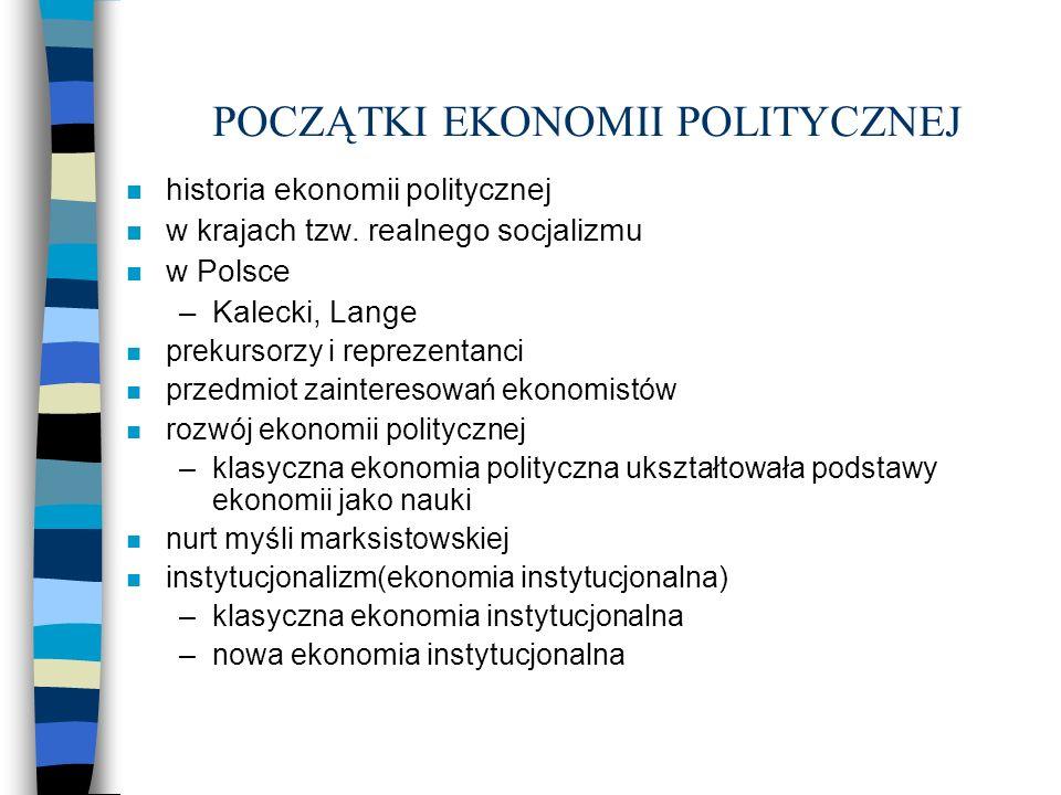 POCZĄTKI EKONOMII POLITYCZNEJ