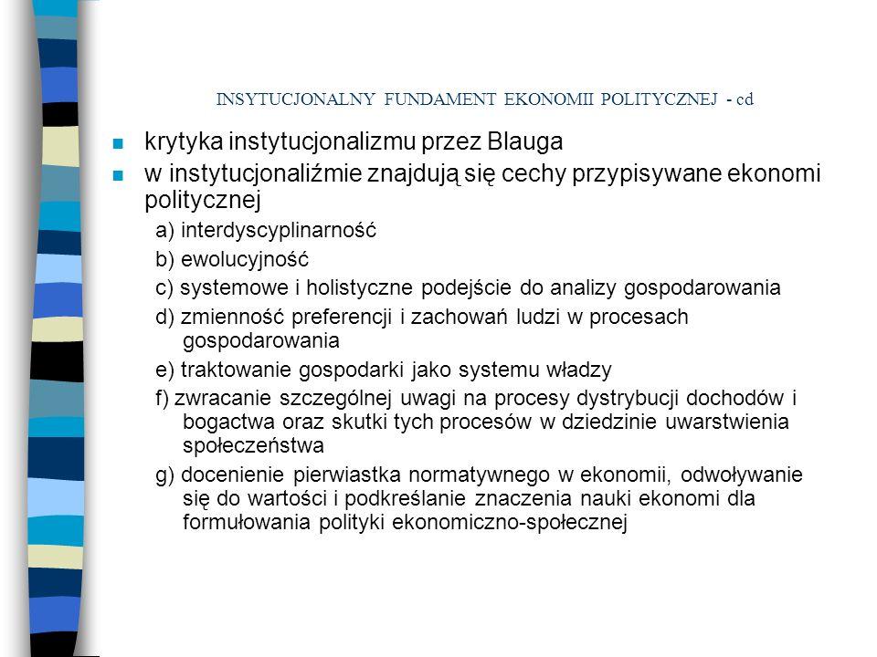 INSYTUCJONALNY FUNDAMENT EKONOMII POLITYCZNEJ - cd