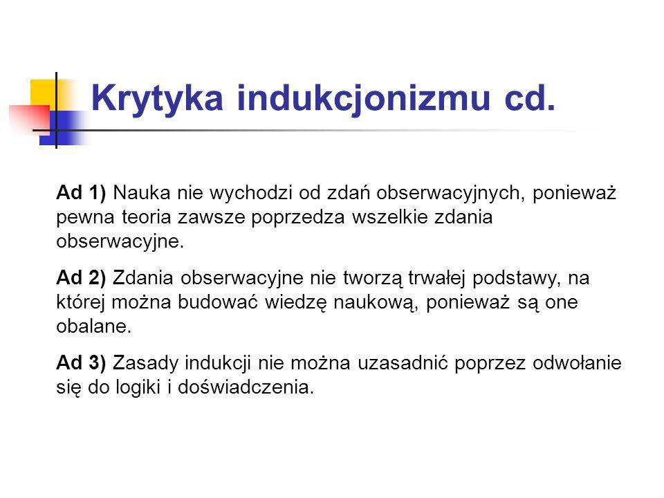 Krytyka indukcjonizmu cd.