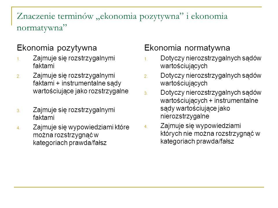 """Znaczenie terminów """"ekonomia pozytywna i ekonomia normatywna"""