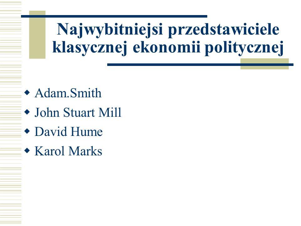 Najwybitniejsi przedstawiciele klasycznej ekonomii politycznej