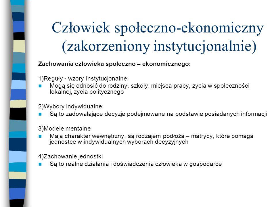 Człowiek społeczno-ekonomiczny (zakorzeniony instytucjonalnie)
