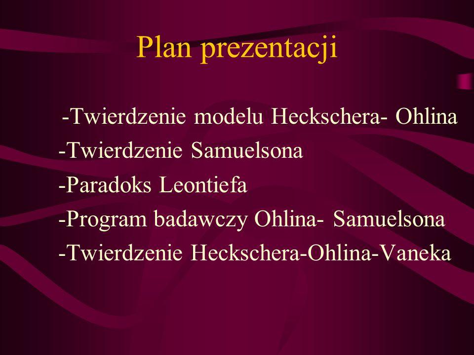 -Twierdzenie modelu Heckschera- Ohlina