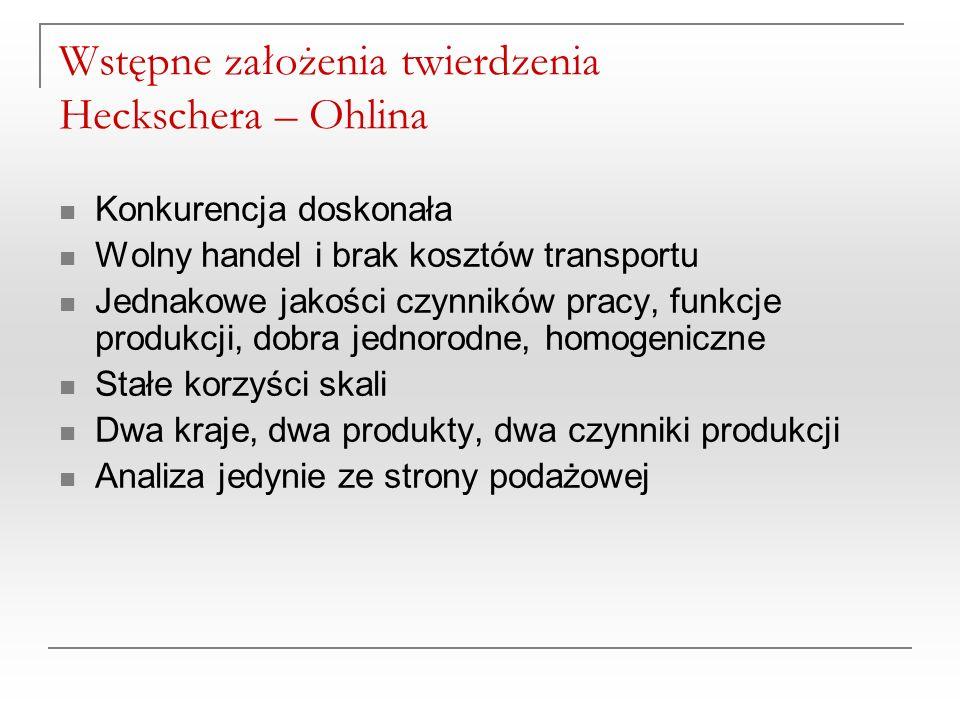Wstępne założenia twierdzenia Heckschera – Ohlina