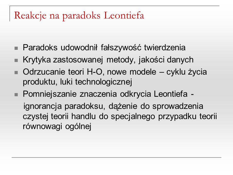 Reakcje na paradoks Leontiefa