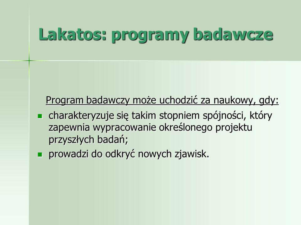 Lakatos: programy badawcze